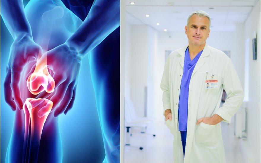 raumenų skausmas su trenksmu arba paspaudę jungtiniame